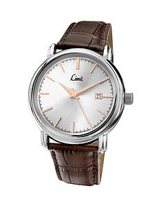 limit-silver-tone-rose-accent-brown-leather-strap-mens-watch