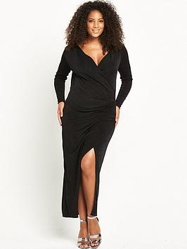lost-ink-curve-wrap-dress-black