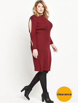 lost-ink-curve-lost-ink-knitted-dress-with-twist-sleeve
