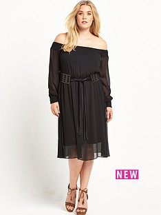 lost-ink-curve-bardot-dress-with-criss-cross-belt-black
