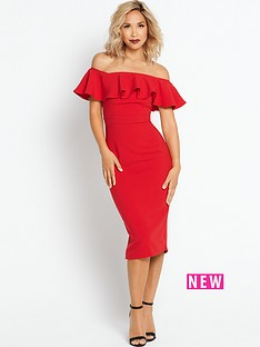 myleene-klass-ruffle-off-the-shoulder-pencil-dress-red
