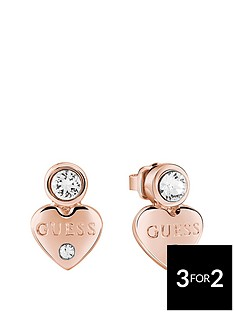 guess-rose-gold-platednbspmini-heart-earrings