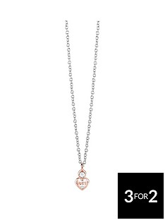guess-two-tone-mini-heart-charm-necklace