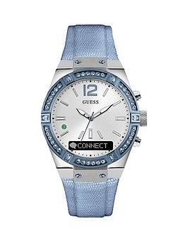 guess-connectnbspleather-textured-strap-smartwatch