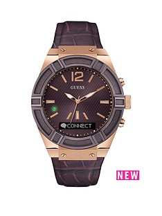 guess-connect-brown-dial-brown-leather-strap-smartwatch