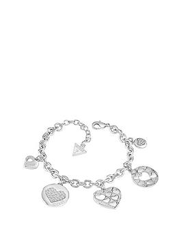 guess-rhodium-plated-multinbspheart-charm-bracelet