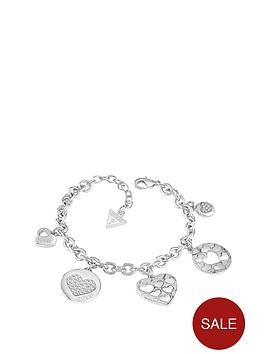 guess-rhodium-plated-multinbspheart-charm-bracelet
