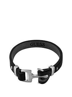 guess-mens-stainless-steel-anchor-clasp-black-leather-bracelet