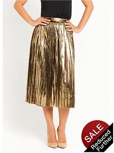 myleene-klass-metallic-pleated-skirt-gold
