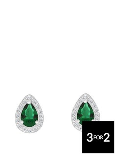love-gem-sterlingnbspsilver-green-and-white-cubic-zirconianbsppeardropnbspstud-earrings