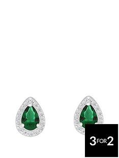 love-gem-sterlingnbspsilver-green-and-white-cubic-zirconianbsppeardropnbspstud-earrings