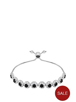 love-gem-sterlingnbspsilver-rhodium-plated-black-sapphire-and-cubic-zirconianbspfriendship-bracelet