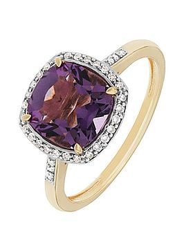 love-gem-9ctnbspyellow-gold-cushion-cut-amethyst-and-diamond-set-ring