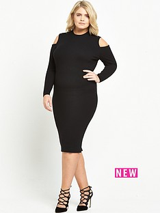 ri-plus-cold-shoulder-bodycon-dress-black
