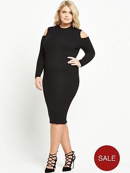 ri-plus-cold-shoulder-bodycon-dress-black