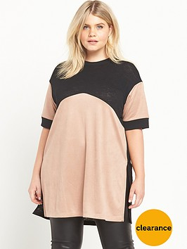 ri-plus-oversized-suedette-blocked-tee