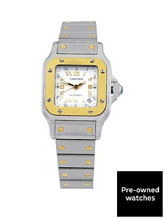 cartier-steel-amp-gold-santos-automatic-silver-guilloche-dial-with-gold-roman-numerals-ladies-watch-pre-owned