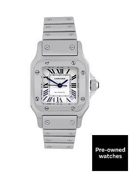 cartier-steel-santos-automatic-silver-guillochenbspdial-with-black-roman-numerals-ladies-watch-pre-owned