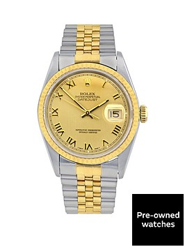 rolex-bimetal-datejust-champagne-roman-numeral-dial-mensnbspwatch-pre-owned-including-paperwork