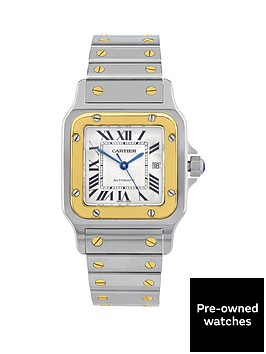 cartier-steel-amp-gold-santos-automatic-silver-guilloche-dial-black-roman-numerals-mensnbspwatch-pre-owned