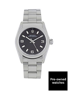 rolex-midsize-stainless-steel-oyster-perpetual-black-3-6-9-dial-unisex-watch-pre-owned
