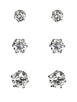 anne-klein-anne-klein-silver-tone-cubic-zirconia-3-pack-of-stud-earrings