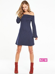v-by-very-bardot-polka-dot-swing-dress