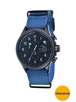avi-8-avi-8-hawker-hunter-black-dial-black-leather-strap-mens-watch-includes-additional-blue-nato-strap