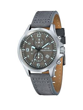 avi-8-avi-8-hawker-harrier-ll-grey-dial-grey-leather-strap-mens-watch