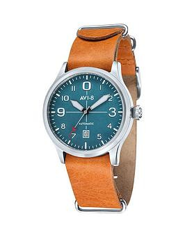 avi-8-avi-8-flybboy-auto-green-dial-tan-leather-strap-mens-watch