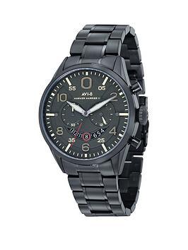 avi-8-avi-8-hawker-harrier-ll-dark-green-dial-stainless-steel-black-ip-plated-bracelet-watch