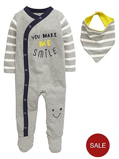ladybird-baby-boys-smile-sleepsuit-and-bib-set