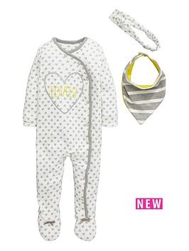 ladybird-baby-girls-heart-print-sleepsuit-and-bib-set