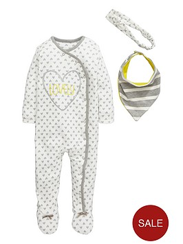 ladybird-baby-girls-heart-print-sleepsuit-and-bib-set