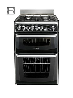Cannon By HotpointCH60DHKF60cmElectric Double Oven Cookerand Gas Hob with FSD - Black
