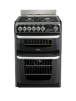 Cannon By Hotpoint Ch60Dhkf 60Cm Electric Double Oven Cooker And Gas Hob With Fsd - Black