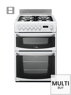 cannon-by-hotpointnbspch60dhwfs-60cm-double-oven-electric-cookernbspand-gas-hob-with-fsdnbsp--white