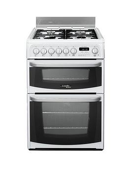 Cannon By Hotpoint Ch60Dhwf 60Cm Double Oven Electric Cooker And Gas Hob With Fsd - White