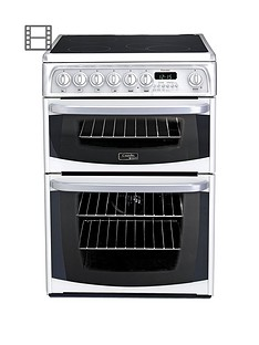 Cannon By HotpointCH60EKWS 60cm Electric Double Oven Cooker with Ceramic Hob - White