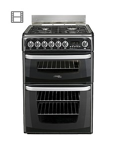 Cannon By Hotpoint CH60GCIK 60cm Double Oven Gas Cooker and Gas Hob with FSD - Black