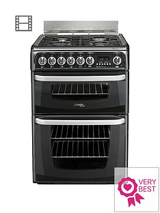 cannon-ch60gcik-60cmnbspdouble-oven-gas-cooker-with-gas-hob-black