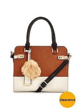 miss-selfridge-colour-block-bag-with-pom-pom