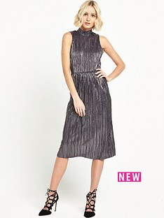 river-island-river-island-metallic-high-neck-midi-dress