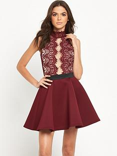 rare-high-neck-lace-plunge-skater-dress
