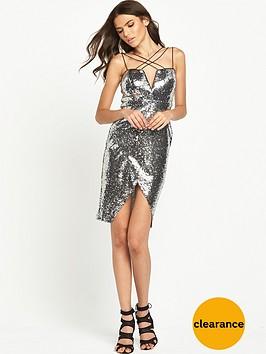 rare-cross-strap-sequin-wrap-dress-silver