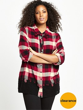 v-by-very-curve-lace-panel-tie-front-checked-blouse