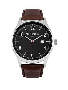 ben-sherman-ben-sherman-black-dial-date-display-brown-leather-strap-mens-watch