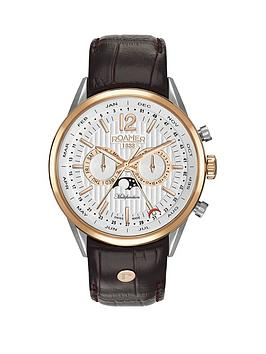 roamer-roamer-superior-business-multifunction-white-dial-brown-leather-strap-mens-watch