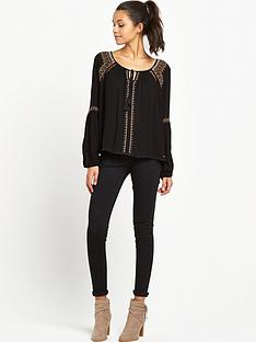superdry-diamond-stitch-peasant-top-black