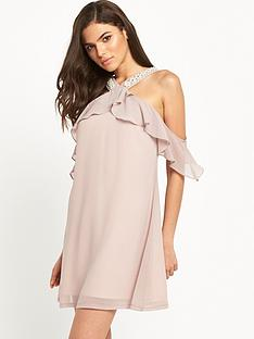 little-mistress-little-mistress-pearl-embellished-shift-with-cold-shoulder